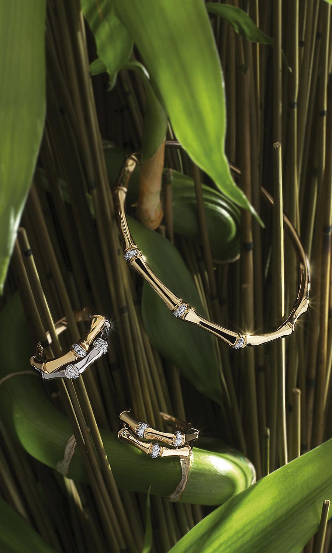 Parure Bambou or et diamants-Elitor paris